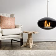 Cocoon Aeris Black suspended bioethanol fireplace