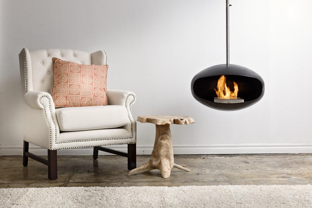 Cocoon Aeris Black suspended bioethanol fireplace