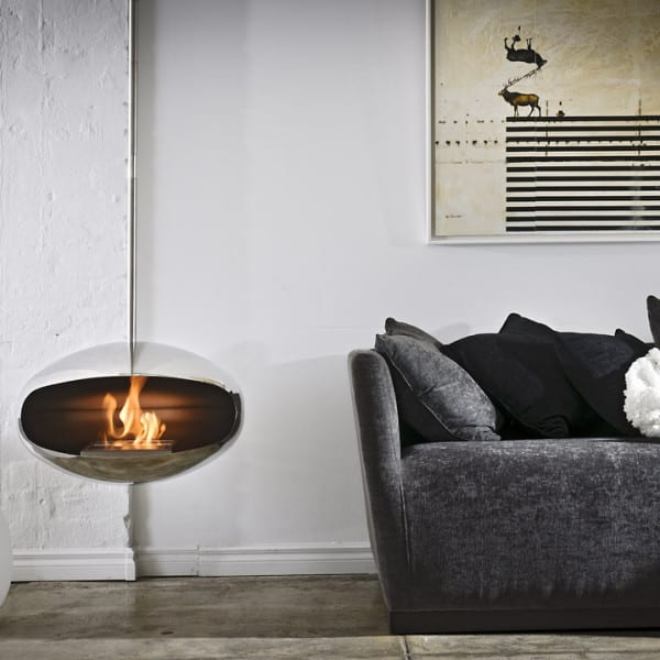 Cocoon suspended bioethanol fireplace
