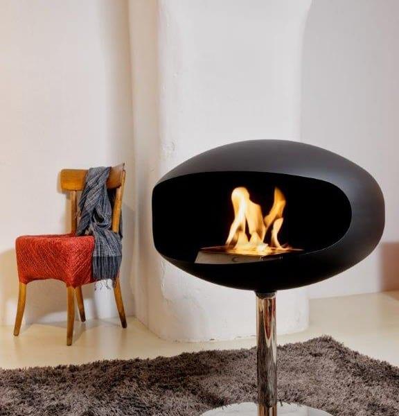 freestanding cocoon pedestal bioethanol fireplace