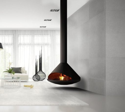 Cone suspended wood fireplace