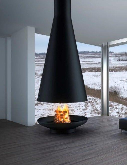 Silo Suspended Wood Burning Fireplace