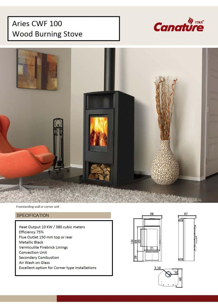 Aries slow combustion wood fireplace