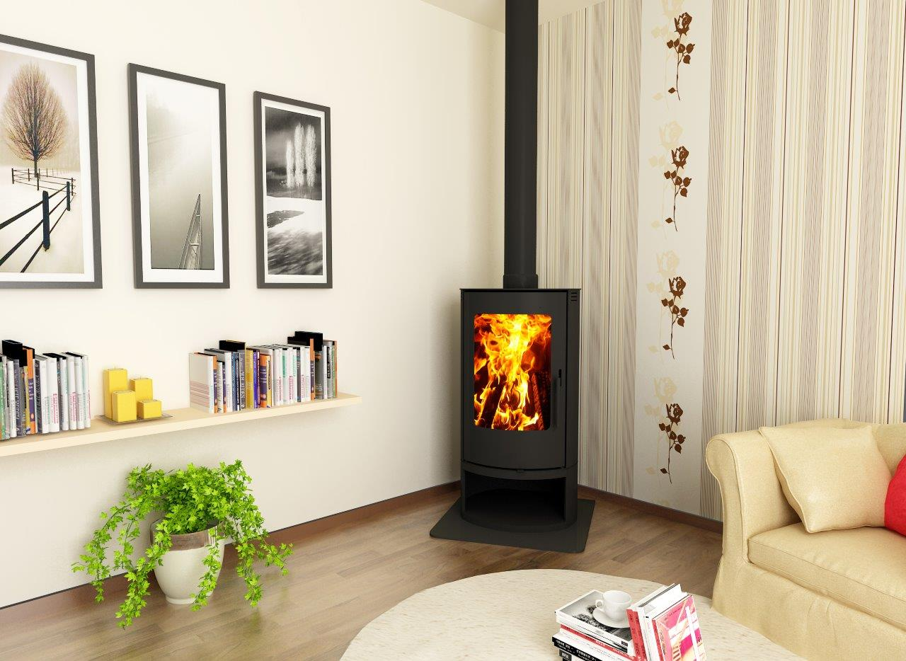 The Cosmo Slow Combustion Wood Fireplace is slow burning and with clean lines and great warmth - Click to view it now
