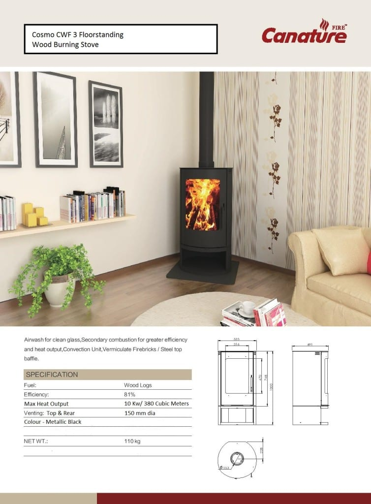 Canature Cosmo  slow combustion wood fireplace