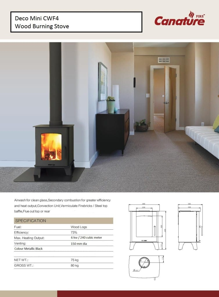 Deco Mini slow combustion wood fireplace