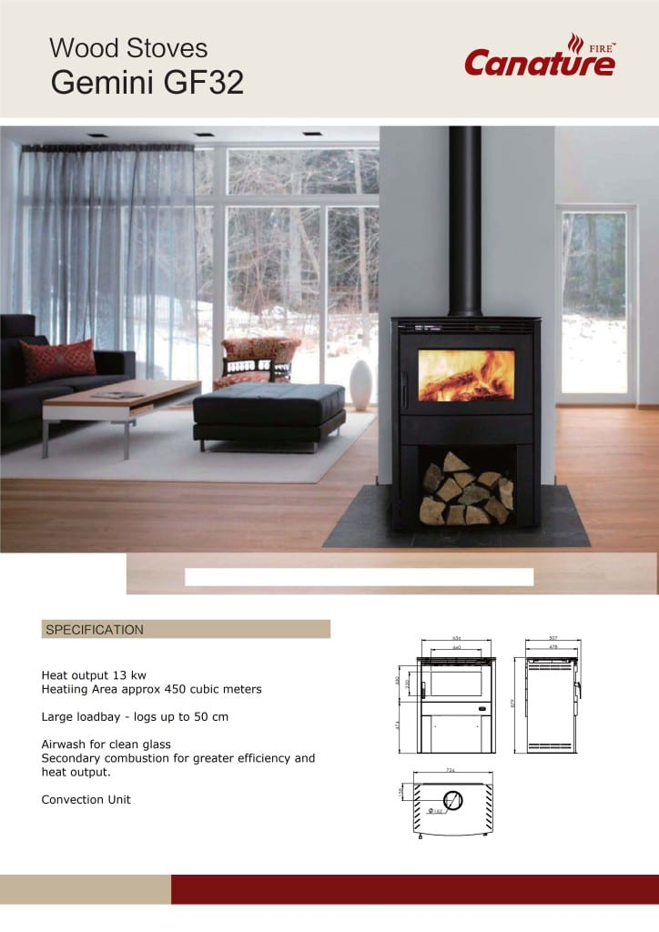 Canature Gemini closed wood burning fireplace