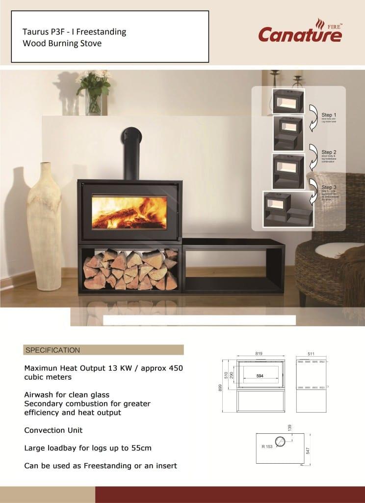 Canature Taurus P3 F Insert closed wood burning fireplace