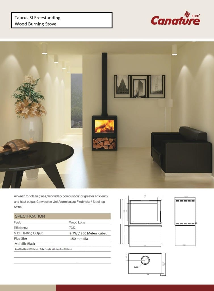 Canature Taurus SI closed wood burning fireplace