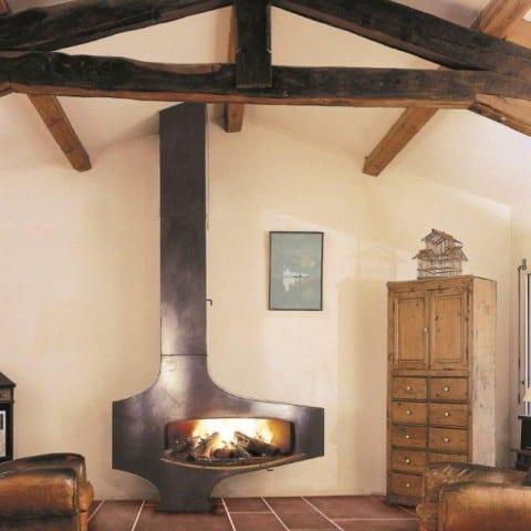 Heterofocus freestanding wood burning fireplace