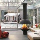 Ball wood fireplace