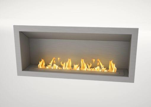 1350 SSteel Firebox with SSteel fascia and 1100 Slimline bioethanol burner