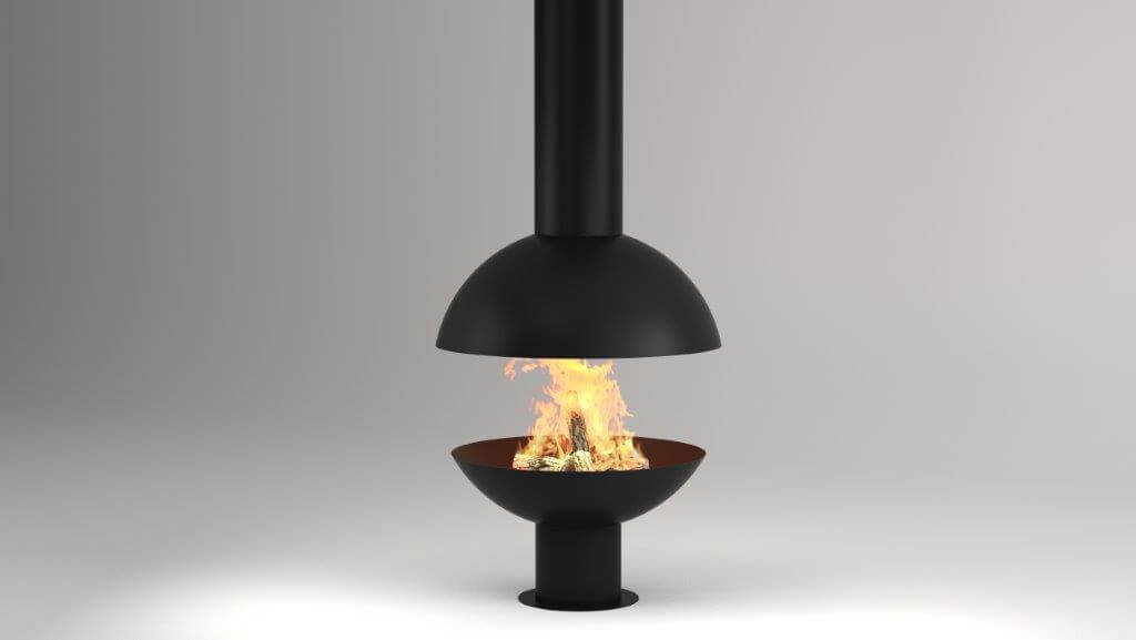 Ball suspended fireplace