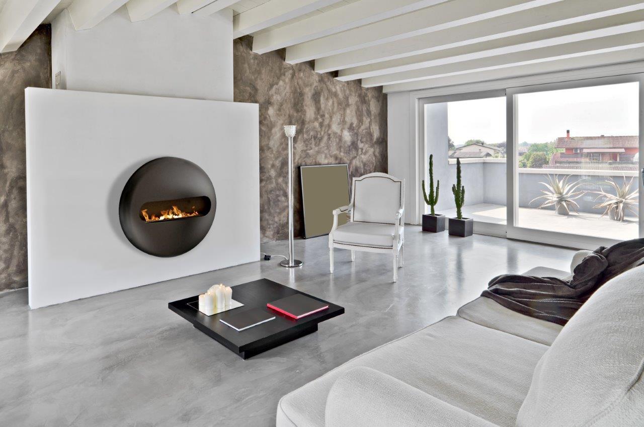 Dot flatback wall mounted bioethanol fireplace