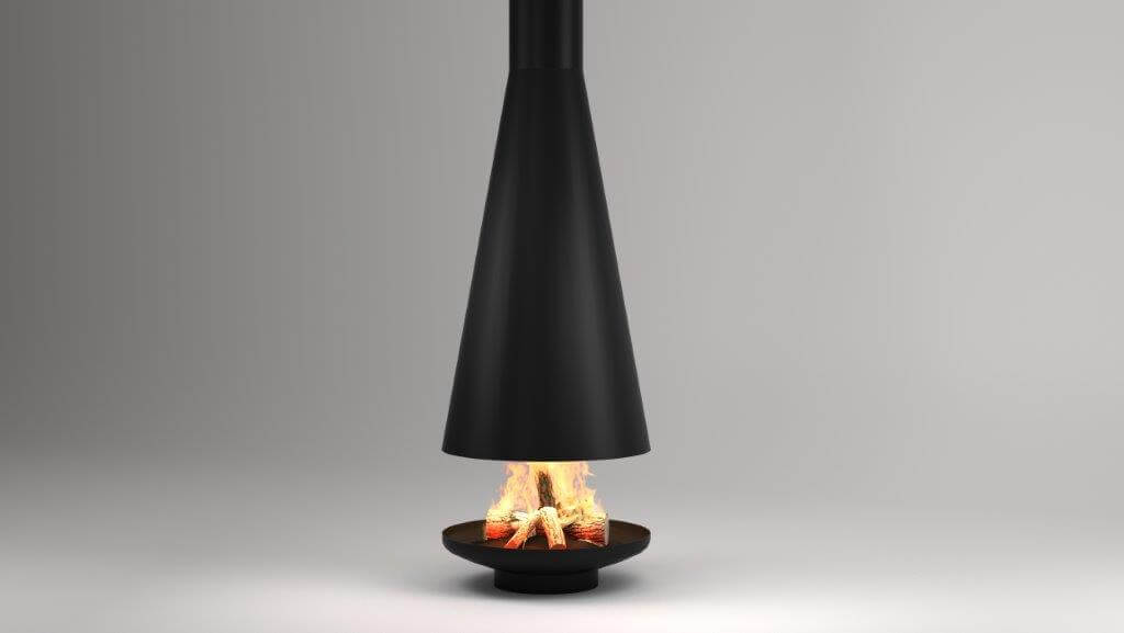 Silo suspended fireplace