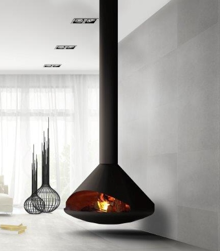 Cone Suspended Wood Burning Fireplace
