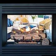 Double sided Black vent free gas fireplace with logs