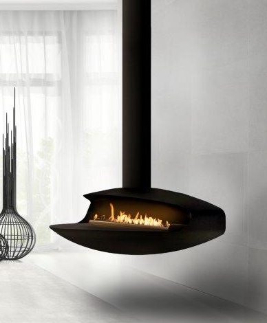 Float suspended biofuel fireplace
