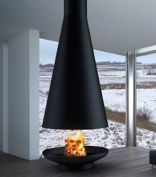 Silo suspended wood burning fireplace