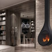 Drop closed combustion fireplace