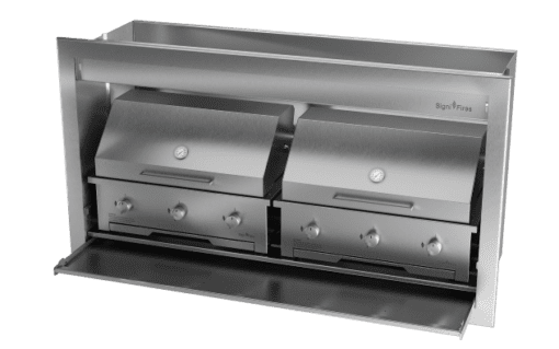 Gas Insert Braai Body 1600mm 304 SS_GAS 770 X 2 & DOME CLOSED 1