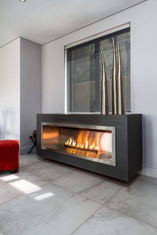 1350 stainless steel firebox with 1200 fluless gas fireplace