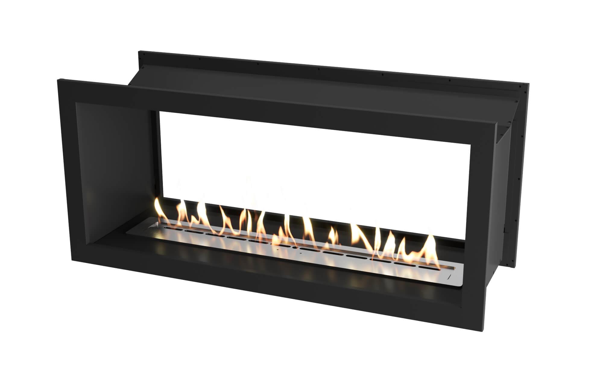 1350 Black double sided firebox with 1100 slimline bio fuel burner