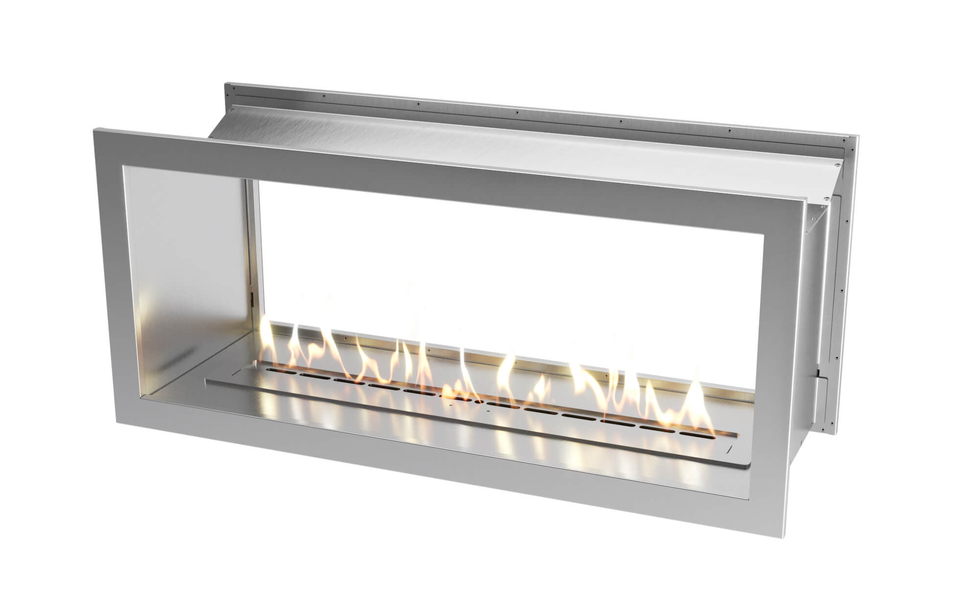 1350 Stainless steel double sided firebox with 1100 slimline bio fuel burner
