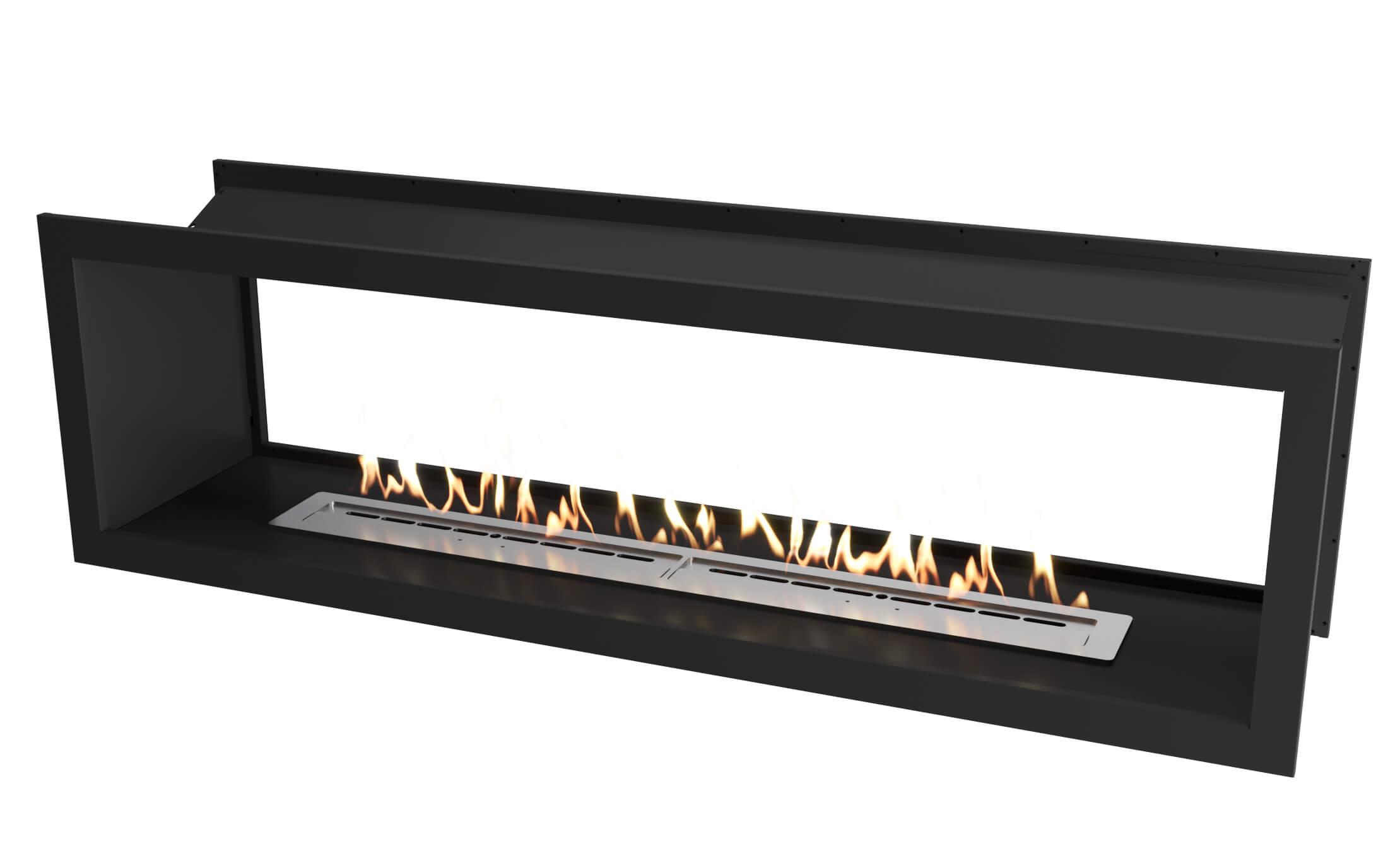 2000 Black double sided firebox with dual 800 slimline bio fuel burners