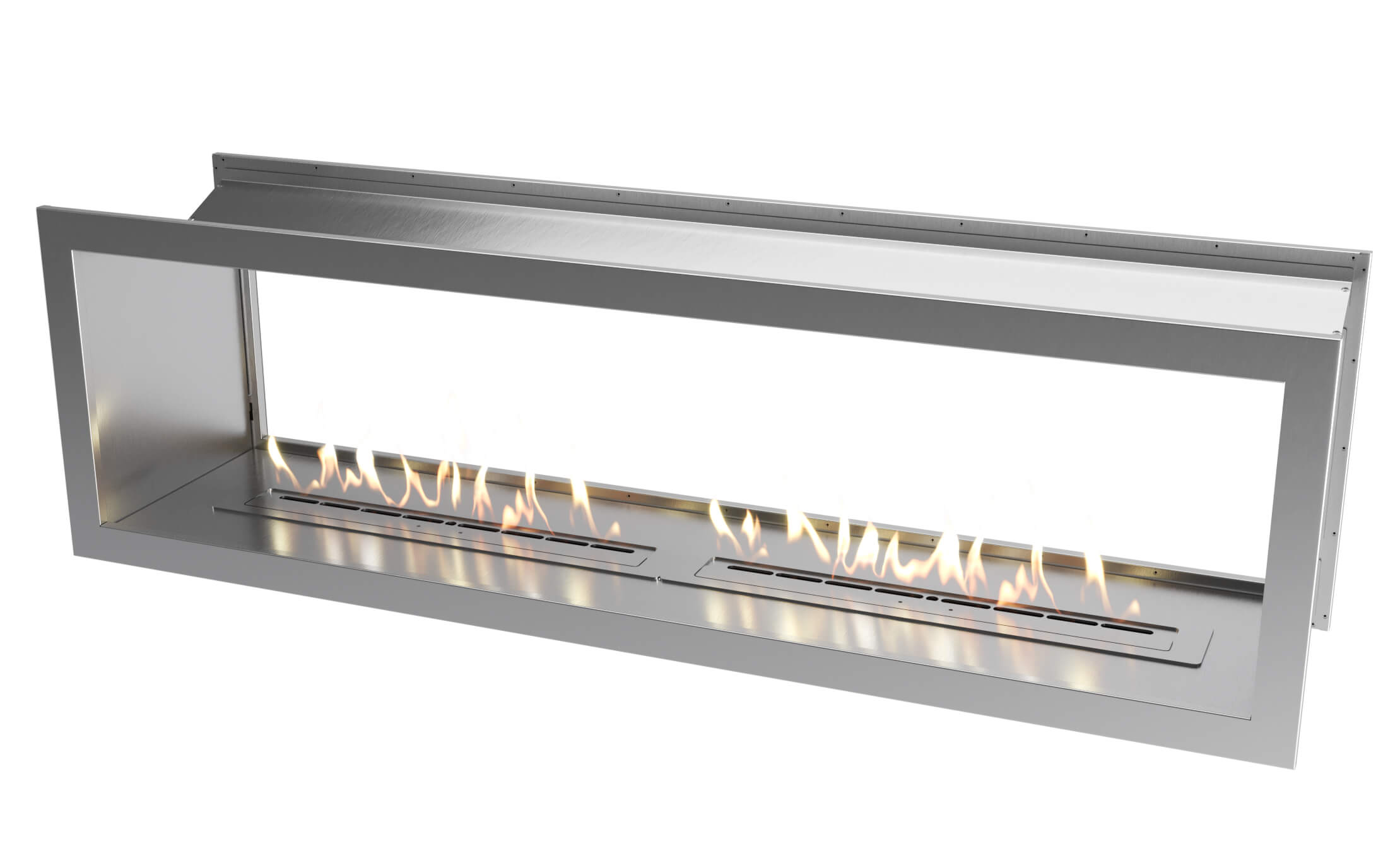 2000 Stainless steel double sided firebox with dual 800 slimline bio fuel burners