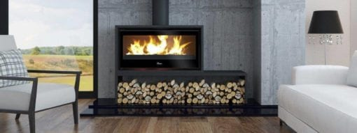 Lacunza 1000 Freestanding closed combustion fireplace on bench
