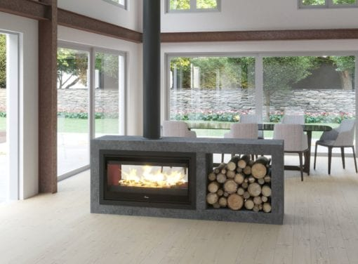 Lacunza Nickel 1000 Double sided closed combustion fireplace close up