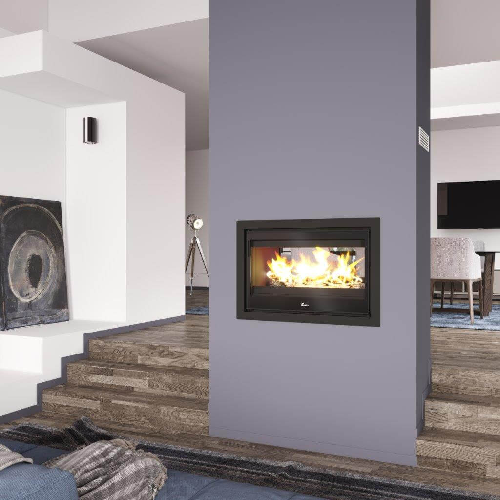 Double Sided Wood Fireplace Closed Combustion Beauty Fires