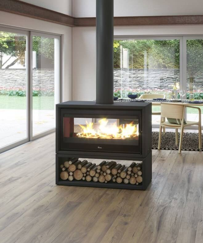 Double Sided Freestanding Wood Fireplace Beauty Fires